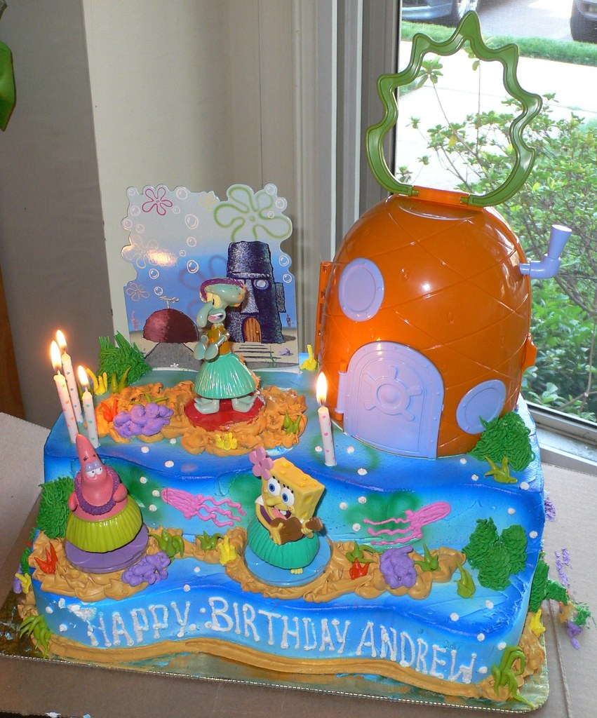 Cool Andrews Spongebob Squarepants Birthday Cake This Is One O Flickr Funny Birthday Cards Online Alyptdamsfinfo