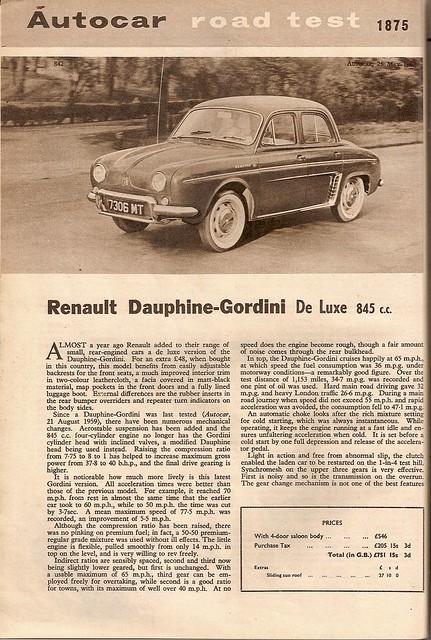Renault Dauphine Gordini Road Test 1962 (1)