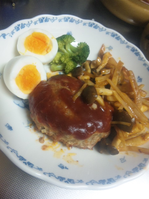 Today S Dinner It S Esay To Cook Japanese Hamburger And I Flickr