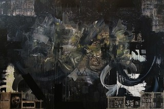 Zavier Ellis 'The End of Days', 2014 Liquitex acrylic, spray paint, oil, tape, collage on board 200x300cm
