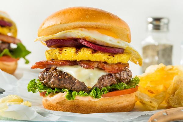 Homemade Aussie Pineapple and Beet Cheeseburger