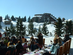 <p>Lunch by the piste in Avoriaz</p>