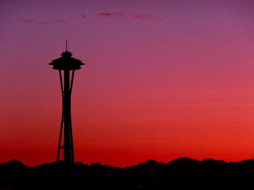 seattle sunset silhouette lumix panasonic spaceneedle odt dmctz4 riesepix