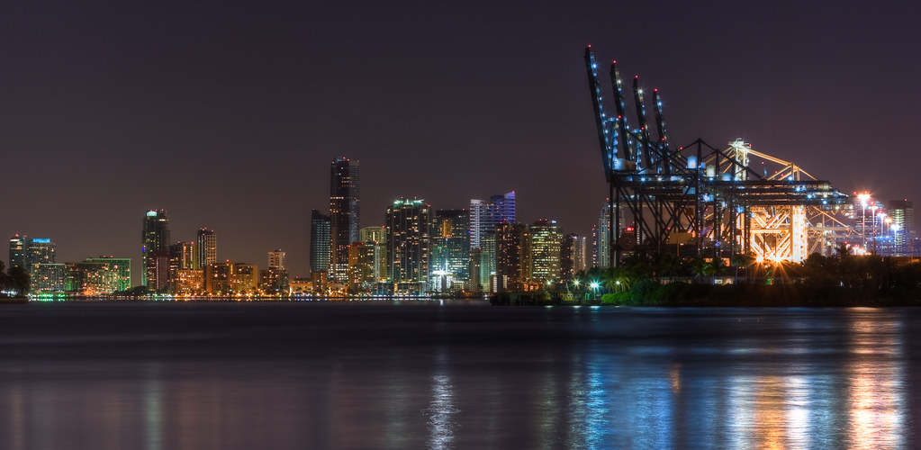 Looking at Miami - Night shot from Miami Beach by haban hero