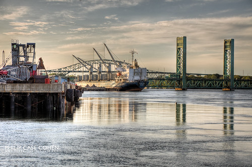 Freighter in Port by Philip Case Cohen