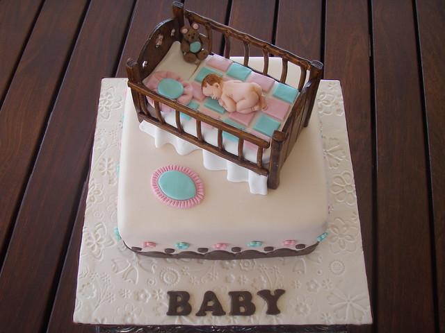 Mossy's Masterpiece - Baby Crib baby shower cake