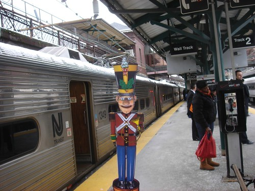 Toy Soldier Nut Cracker waiting for train in Summit New Jersey
