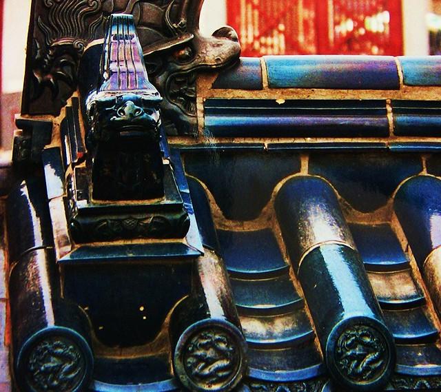 China-Peking - blaue Glasurziegel