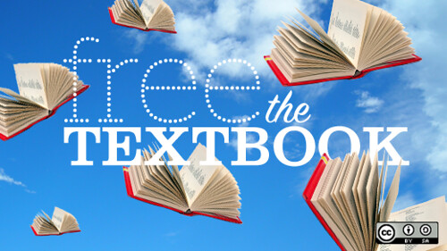 open books flying through a blue sky with little fluffy clouds and text proclaiming Free The Texbook