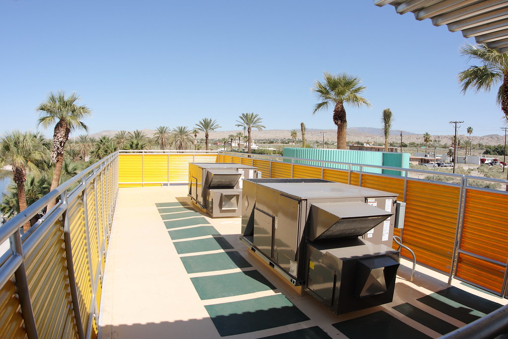 View from the second floor deck of the renovated North Shore Beach & Yacht Club at the Salton Sea.