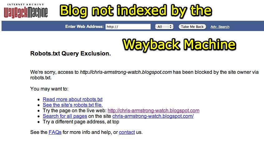 Internet Archive Wayback Machine: Robots txt Query Exclusi