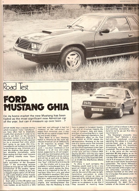 Ford Mustang Ghia Turbo Road test 1979 (1)