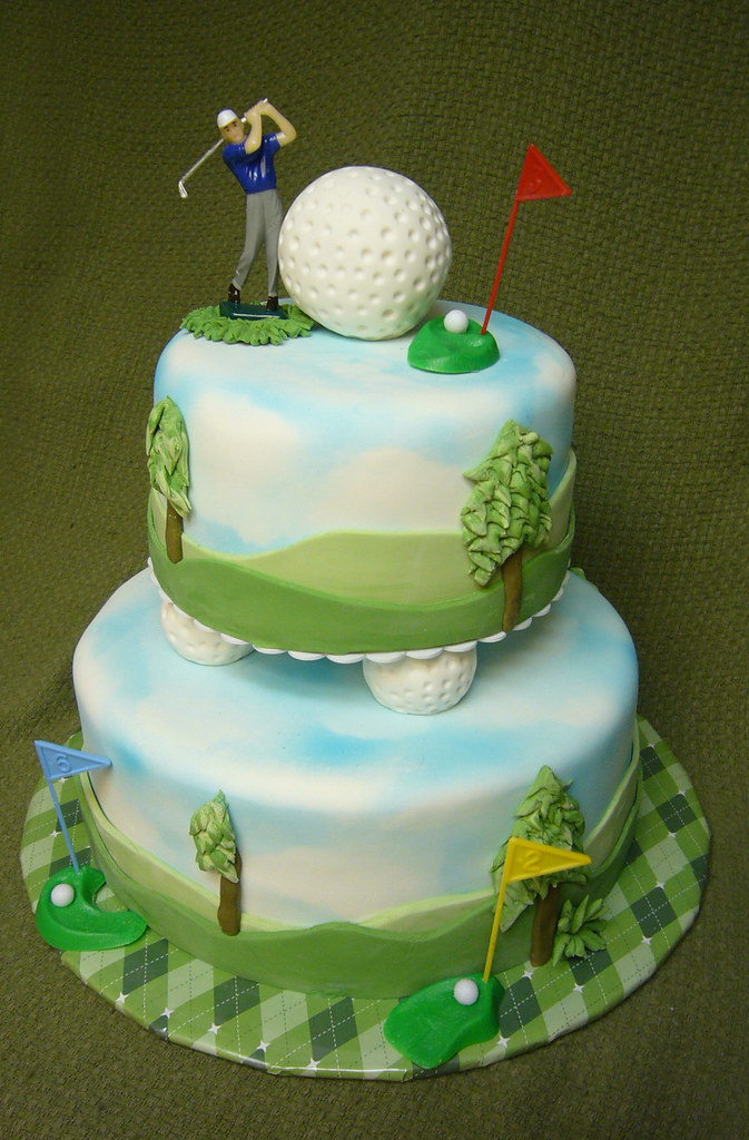 Miraculous Golf Themed 50Th Birthday Cake Laurie Clarke Flickr Funny Birthday Cards Online Aeocydamsfinfo