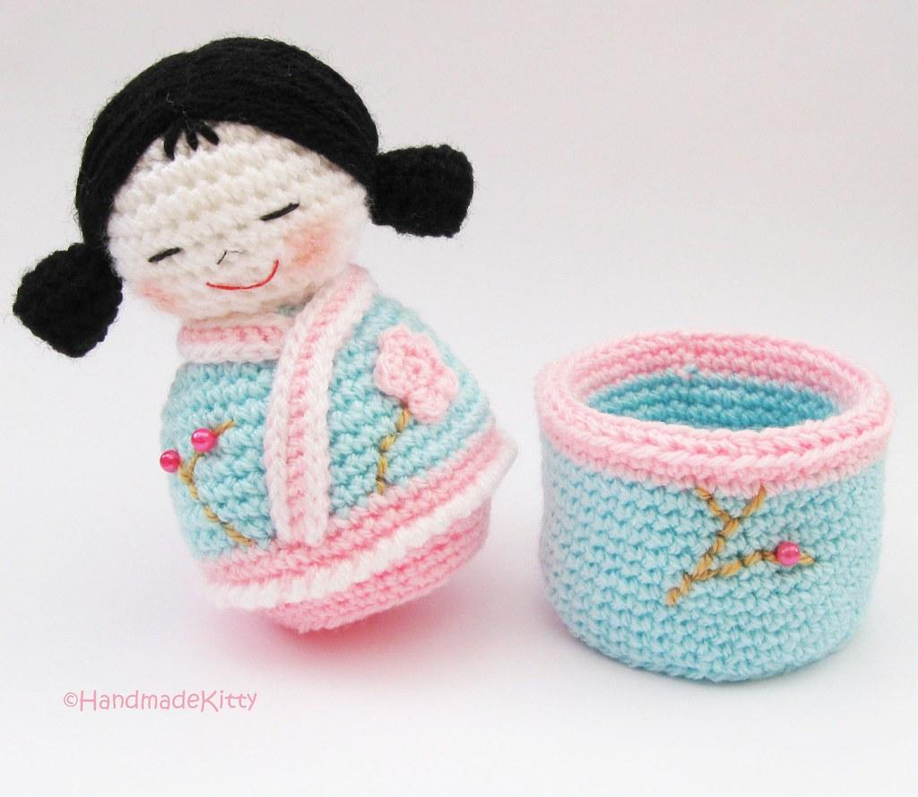 Japanese kokeshi girls jewelry box Amigurumi Crochet Patte