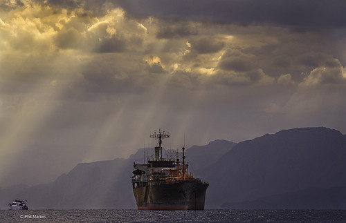 ship moored in Red Sea off Aqaba, Jordan | by Phil Marion (173 million views - THANKS)