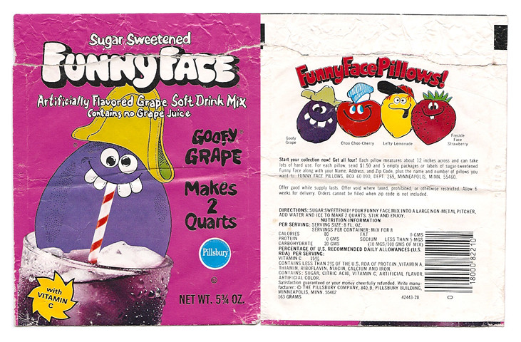 Vintage Pillsbury Goofy Grape Funny Face Drink Mix Pack Flickr