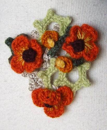 Art Nouveau Inspired California Poppy By Mason Larose: Crochet Orange Poppy Art Nouveau Style Pin