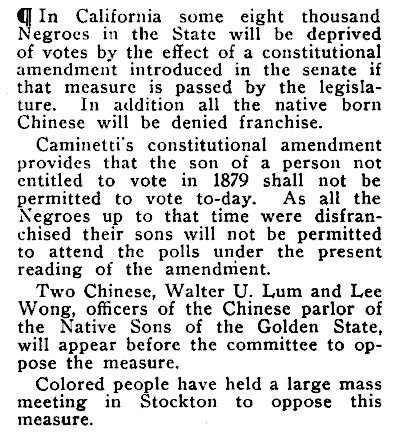 Proposed California State Constitutional Amendment To Block Black and Asian People From Voting - Crisis Magazine, April, 1911