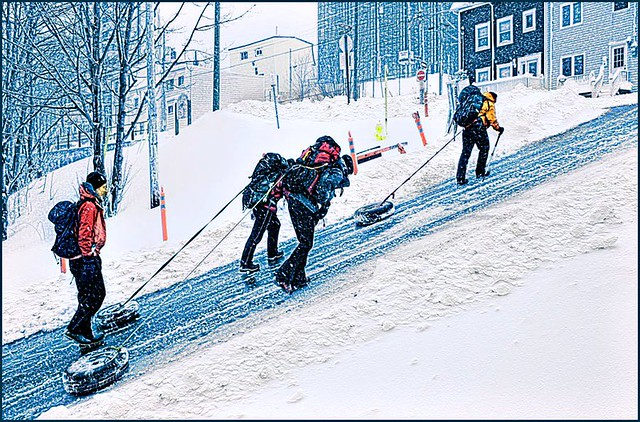 Snow Coolies:    TA Loeffleur and co pass my house last winter, training for Everest. Really.   (5013)