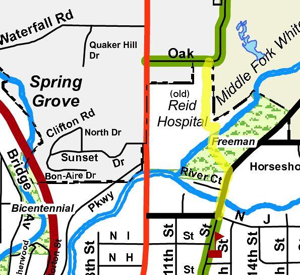 Freeman Park - Oak Drive connector, Richmond Bike Map overlay