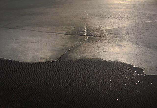 thin ice in sunlight on lake quannapowitt, Wakefield, MA (2010)