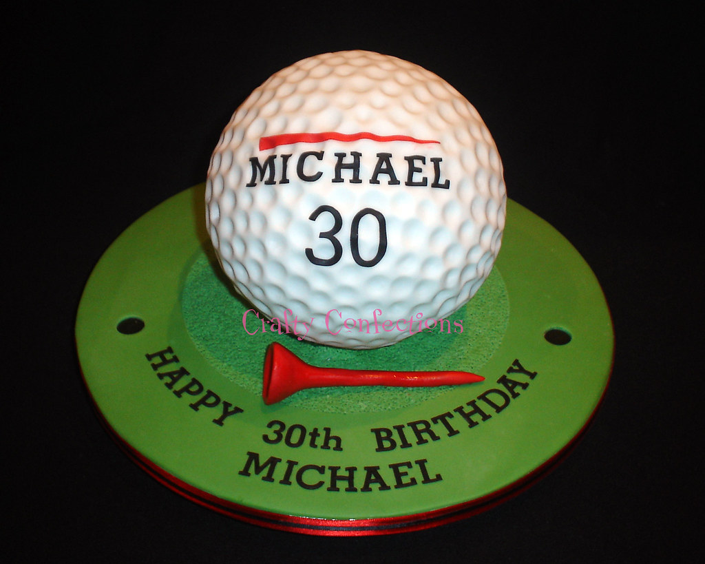 Astounding 30Th Birthday Golf Ball Cake Very Similar To One Ive Done Flickr Personalised Birthday Cards Arneslily Jamesorg