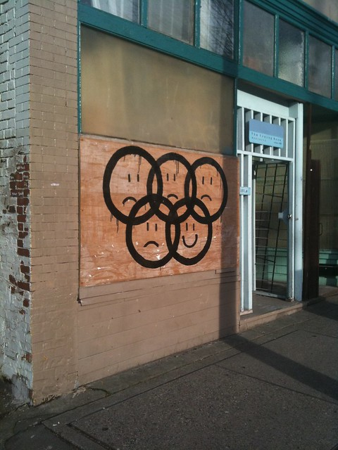 Sad-faced Olympics logo