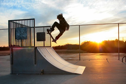 winter sunset kyle king skateboarding ollie skatepark ashby quarterpipe