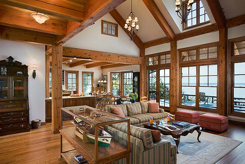 The Tuscany Iii Timber Frame Home Great Room The Clean