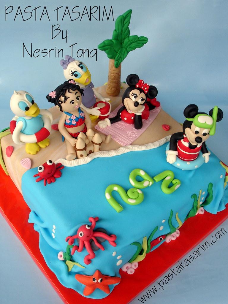 Groovy Disney Characters In Beach Birthday Party Cake Cake By Nesrin Funny Birthday Cards Online Hetedamsfinfo