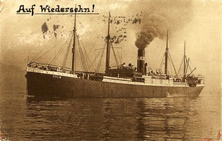 "Vintage picture postcard. Steam ship ""Holm"" of the Hugo Stinnes lines (1924) 