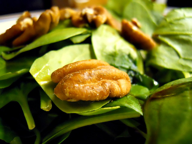 pecan on spinach
