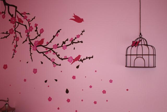Painted Birds Branch Bedroom Wall Susan Bishop Flickr