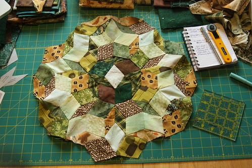 Another round of midtones. Next: making ten of the little stars (dark stars with light backgrounds and dark borders) that will attach to this center piece. This round was the last relatively quick round.