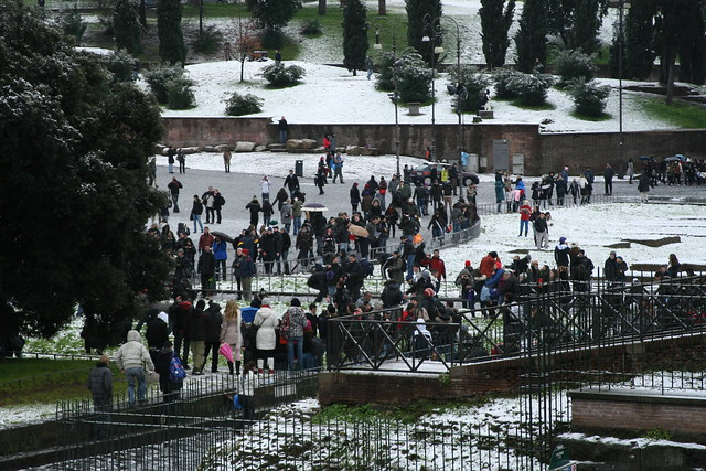 Snowball Fight at the Colosseum
