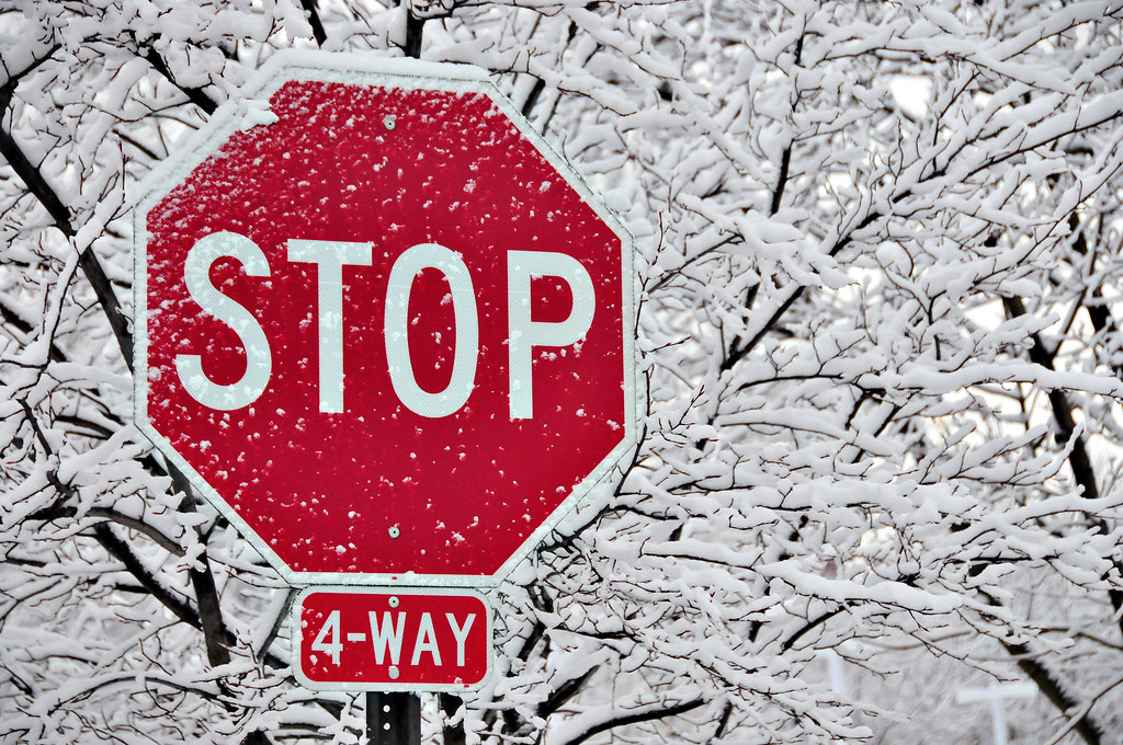 A four-way stop sign in front of snow-covered tree branches.