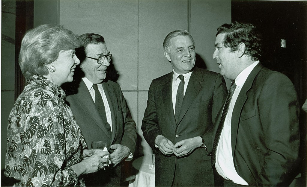 SDLP Leader (Northern Ireland) John Hume with Lane and Rena Kirkland and NDI Chairman Walter Mondale in April 1986
