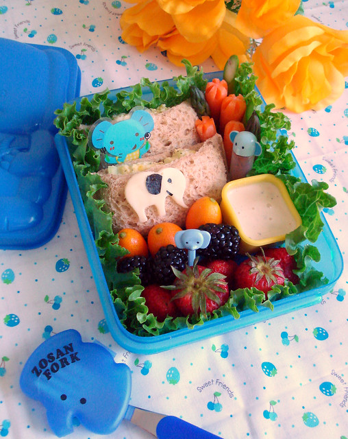 Elephant Egg Salad Sandwiches Bento #50