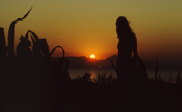 Spanien - Sonnenuntergang mit Silhouette am Meer - M-   3/2616