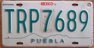 MEXICO, PUEBLA 1998 SERIES ---PASSENGER PLATE