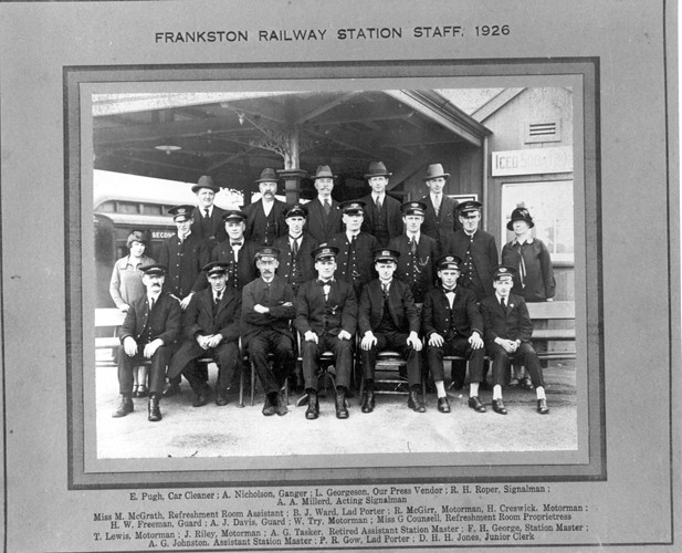 Frankston Railway Station staff, 1926 by Frankston City Libraries