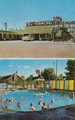 vintage postcard motel wyoming rocksprings elranchomotorlodge