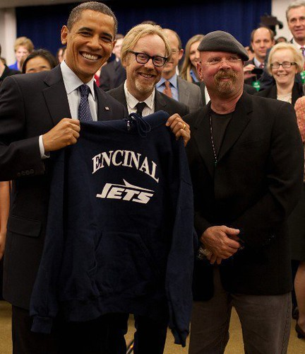 President Obama holds Encinal Jets sweater with Mythbuster