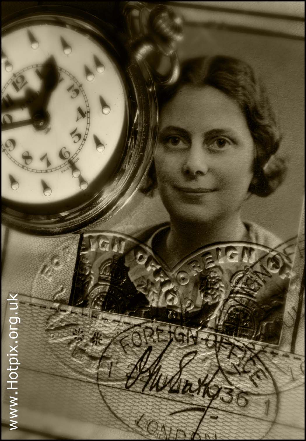 Granny,Passport,British,British Passport,watch,RNIB,blind,braile,braille,partially,sighted,sepia,black,white,photograph,woman,lady,grandmother,document,stamp,stamps,London,1936,prewar,pre,war,secret,spy,code,codebreaker,blechley,park,enigma,MI5,MI6,under,cover,undercover,alied,soldier,WRAF,RAF,air,ministry,airministry,ATS,Auxiliary,Territorial,Services,foreign,office,Foreign Office,clock,hands,pocket,pocketwatch,grandma,grannie,paper,paperwork,vintage,old,documents,B/W,mono,monochrome,this photo rocks,clocks,time,photos,grannies,tonysmith,tony,smith,HOT PIX