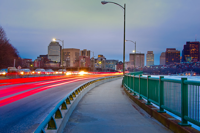 Memorial Drive and Boston Skyline at Dusk