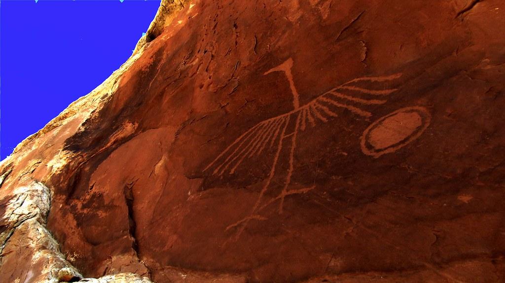 Big Crane Basketmaker Petroglyph by Red Dirt Dawg