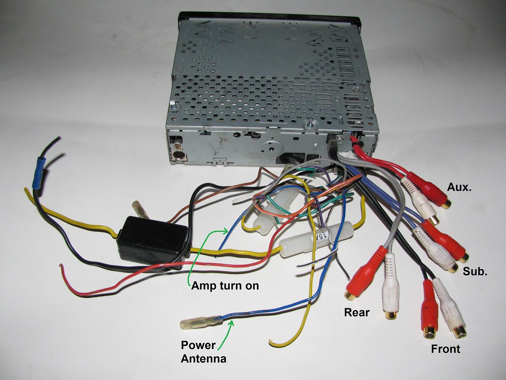 back of my clarion dxz825 reciever, RCA's and Amp  Turn On