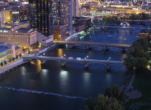 urban water river evening downtown cityscape michigan bridges grandrapids grandriver birdseyeview