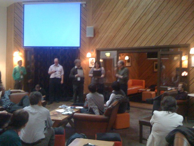 @briankelly, @m8nd1 and @ostephens presenting prizes