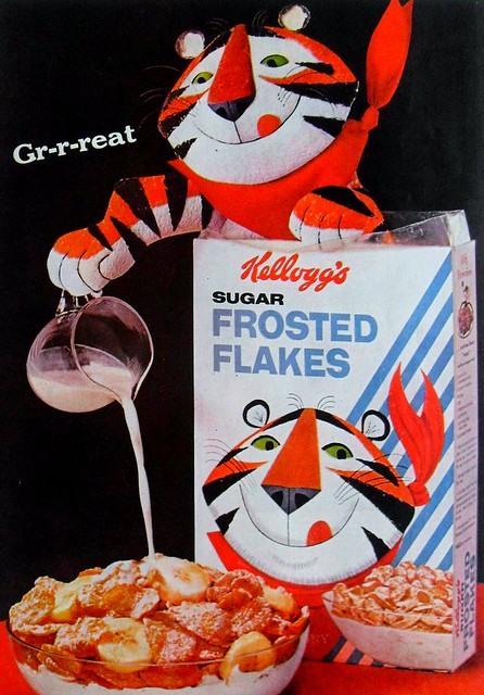 1960s KELLOGGS Frosted Flakes Ceral Vintage Advertisement TONY THE TIGER Graphics